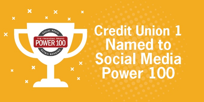 Credit Union 1 named Power 100 for Credit Unions in Social Media.jpg